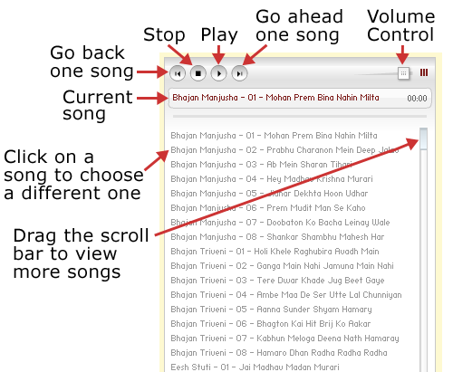 Instructions for music player